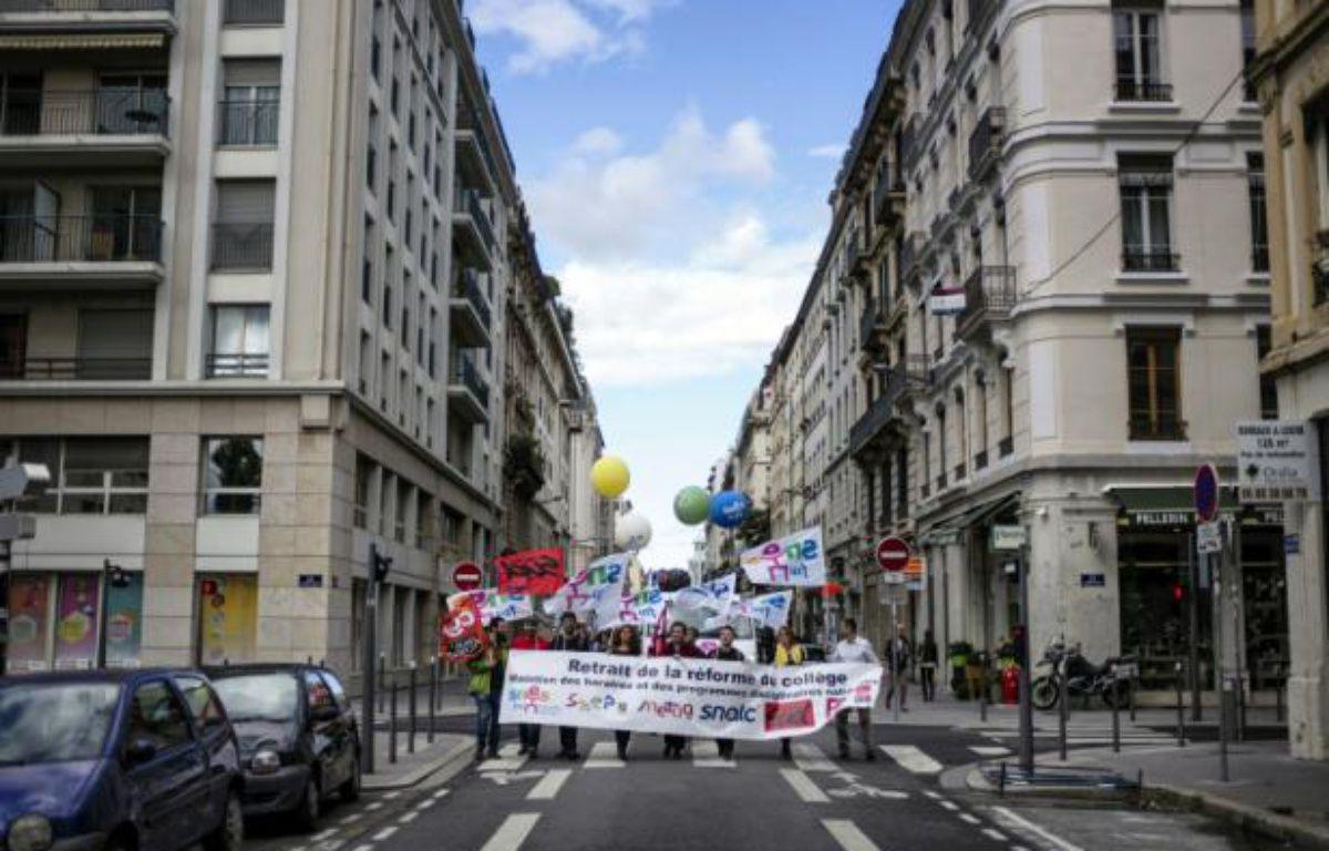Une précédente manifestation d'enseignants, contre la réforme des collèges, à Lyon, le 17 septembre 2015 – JEFF PACHOUD AFP