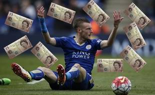 L'attaquant de Leicester Jamy Vardy, le 17 avril 2016.