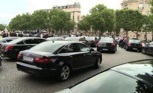 Une manifestation de VTC à Paris, le 21 juillet 2014.