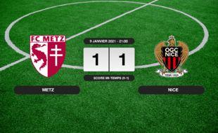 Metz - OGC Nice: Match nul entre Metz et l'OGC Nice sur le score de 1-1