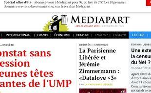 Capture d'écran du site d'information en ligne Mediapart.
