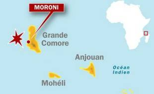 Carte de localisation de Moroni, aux Comores, où un avion de la compagnie Yemenia est tombé en mer avant son arrivée.