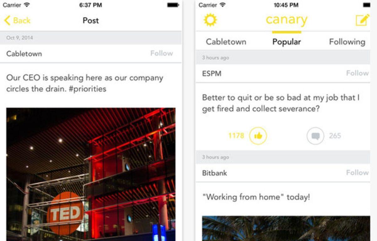 L'application mobile Canary pour balancer sur son patron et sa boîte anonymement. – Capture d'écran / Canary / 20 Minutes