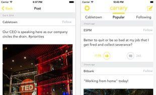L'application mobile Canary pour balancer sur son patron et sa boîte anonymement.