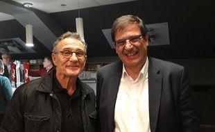 Guy Novès et Florian Grill à l'issue d'une réunion du candidat à la présidence de la FFR, le 29 janvier 2020 à Colomiers.