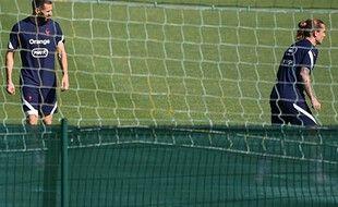 Benzema et Griezmann se sont entraînés à part vendredi à Clairefontaine.