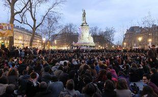 Rassemblement #NuitDebout ici place de la République à Paris le 3 avril 2016.