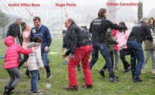 André Villas-Boas, Hugo Porta et Fabian Cancellara, avec d'autres personnalités du monde du sport, ont participé à une rencontre avec des enfants à Nice dans le cadre de la Fondation Laureus, le 26 février 2018.