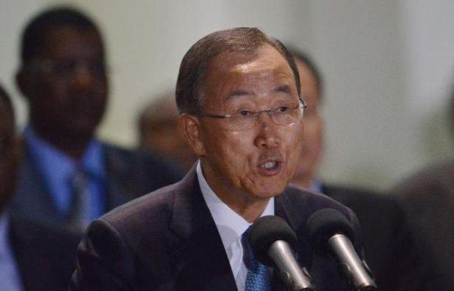 Le secrétaire général des Nations Unies Ban Ki-moon lors d'une conférence de presse à Nairobi le 29 octobre 2014