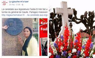 Le post qui vise Fadila El Miri, à gauche, et la tombe de de Gaulle, à droite.