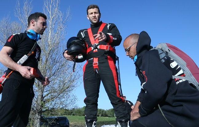 Franky Zapata lors de son essai du Flyboard Air