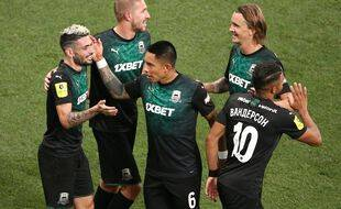 Rémy Cabella sous les couleurs du FK Krasnodar. Positif au Covid-19, l'ancien Stéphanois va toutefois louper la rencontre face au Stade Rennais ce mardi soir.