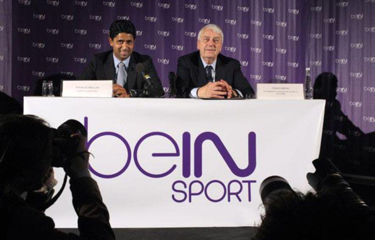 Le directeur d'Al-Jazira Sports Nasser Al Khelaifiet Charles Bietry lors de la conférence de lancement de Be in Sport le 24 mai 2012. – ERIC PIERMONT / AFP
