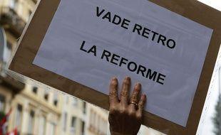 Manifestation nationale des enseignants contre la réforme du collège à Lyon. Le 19/05/2015.