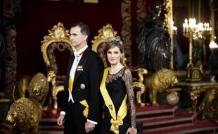 Le prince Felipe de Bourbon et son épouse Letizia à Madrid, le 9 juin 2014