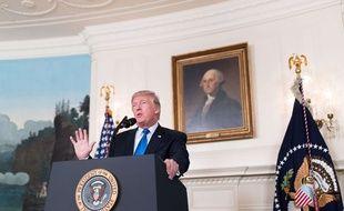 Donald trump lors de son discours sur l'Iran à la Maison blanche le 13 octobre 2017.