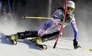 La skieuse française Sandrine Aubert, victorieuse du slalom de Are, le 13 mars 2009.
