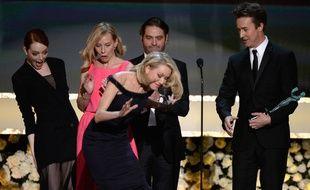 Emma Stone, Amy Ryan, Naomi Watts, Zach Galifianakis et Edward Norton, le 25 janvier 2015 à Los Angeles.