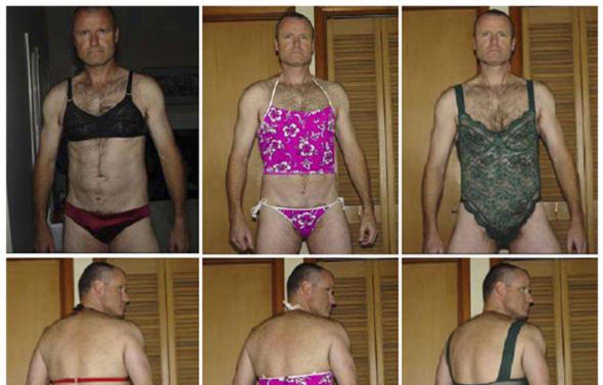 Russell Williams, colonel de l'armée canadienne reconnu coupable en octobre 2010 de meurtres à caractère sexuel, pose dans les sous-vêtements qu'il a volés.  – Ho New/ REUTERS