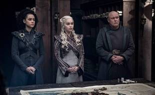 Missandei (Nathalie Emmanuel), Daenerys (Emilia Clarke) et Conleth Hill (Lord Varys) dans l'épisode 4 de la saison 8 de «Game of Thrones».