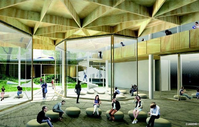 Intérieur du futur Pôle des arts et cultures numériques de Lomme (Images de synthèse).