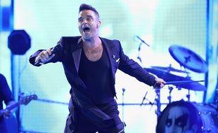 Robbie Williamslors de son concert à Adelaide (Australie), le 14 octobre 2015.