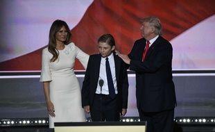Melania, Barron et Donald Trump à Cleveland, le 21 juillet 2016.