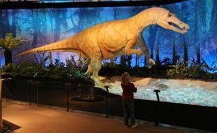 Une reproduction de dinosaure, le 9 décembre 2009 au Palais de la découverte à Paris