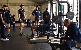 Le XV de France à l'entraînement à Marcoussis, le 19 février 2018.