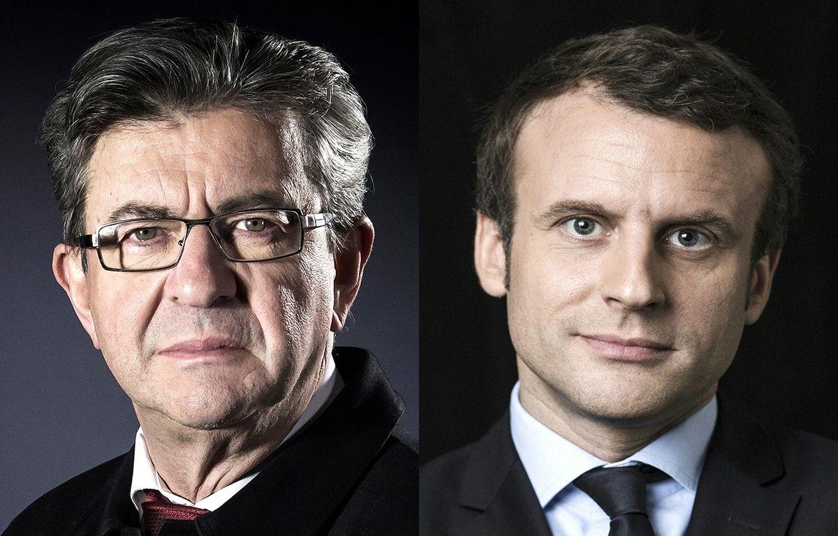 Montage AFP de Jean-Luc Mélenchon et d'Emmanuel Macron. – Montage AFP