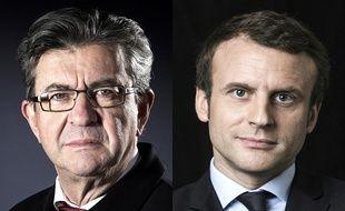 Montage AFP de Jean-Luc Mélenchon et d'Emmanuel Macron.