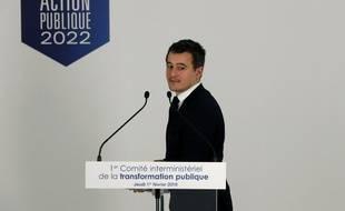 Le ministre de l'Action et des Comptes publics Gérald Darmanin le 1er février 2018 à Paris, après le premier comité interministériel sur la transformation du service public.