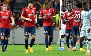 La joie des Lillois après avoir marqué contre Bastia (1-0), le 27 septembre 2014.