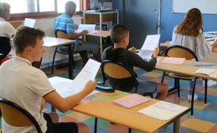 Des élèves de Montpellier passent le brevet des collèges le 28 juin 2019.