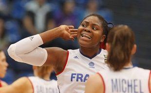 Isabelle Yacoubou lors de la victoire de la France contre l'Espagne en demi-finale de l'Euro de basket, le 26 juin 2015.