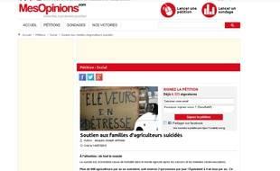 Capture d'écran du site Mesopinions.com montrant la pétition de Jacques Jeffredo, un maraîcher breton, qui veut instaurer une Journée nationale en mémoire des suicidés dans l'agriculture le 11 octobre.