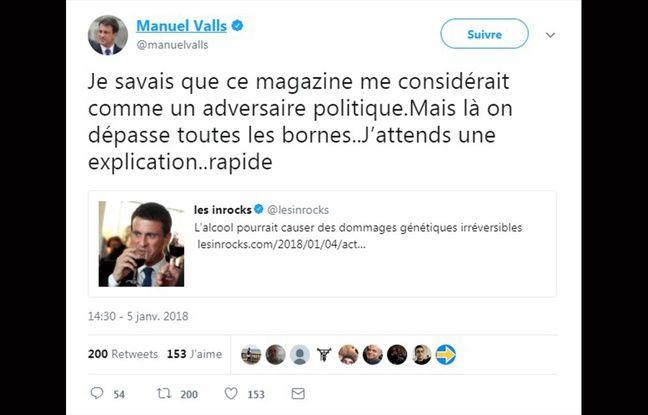 Valls outré d'illustrer un article des Inrocks... sur l'alcoolisme —