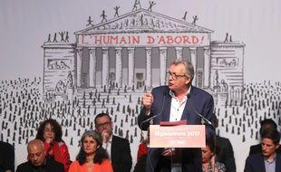 Le secrétaire national du PCF Pierre Laurent s'exprimait à Paris à l'occasion du lancement de la campagne des législatives le 11 mai 2017.