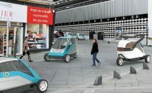 Sur cette image de synthèse, les Icare roulent rue de l'Arche Sèche, à Nantes.