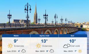 Météo Bordeaux: Prévisions du dimanche 26 janvier 2020
