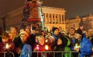 Sur la place de l'Indépendance le 22 février 2014 à Kiev (Ukraine).
