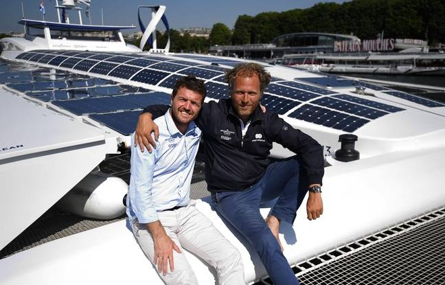 Victorien Erussard et Jerome Delafosse, respectivement capitaine et chef de l'expédition sur le projet Energy Observer.