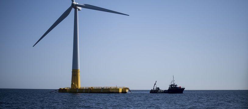 Une éolienne flottante (illustration)