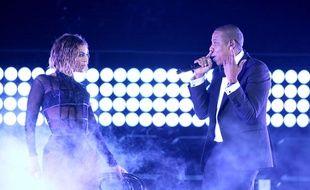 Beyoncé et Jay Z sur la scène des Grammy Awards le 26 janvier 2014
