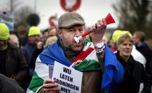 Des habitants protestent contre la production de gaz naturel dans la ville de Groningen aux Pays Bas, le 15 janvier 2014