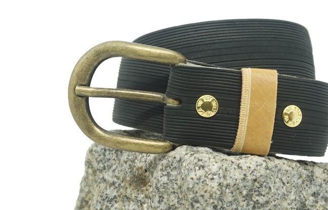 Un exemple de ceinture fabriquée à partir d'un pneu de vélo.