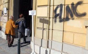 Un tag du Front de libération corse sur un mur à Bastia, le 30 mars 2014