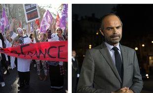 Collage SIPA/Fotor/20 Minutes de la manifestation à Paris le 9 octobre 2018 et du Premier ministre Edouard Philippe.