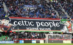 La banderole déployée par le Roazhon Celtic Kop avant Rennes-Glasgow, en octobre 2011.