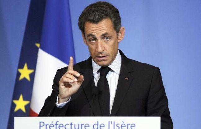 Le président de la République Nicolas Sarkozy  s'exprime à la préfecture de l'Isère, à Grenoble, le 30 juillet 2010.